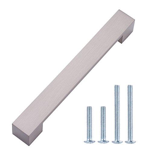 AmazonBasics - Steggriff, Möbelgriff, kurz, modern, 19,2 cm Länge (16 cm Lochmitte zu Lochmitte), Satinierter Nickel, 10er-Pack