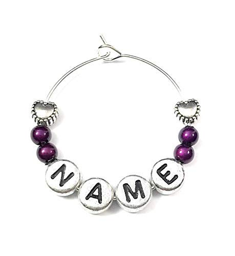 Libby's Market Place Personalised Name Wine Glass Charm with Hearts on a Gift Card