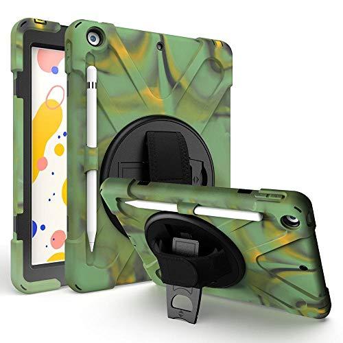 RZL Pad y Tab Fundas para iPad 10.2 2019 7th Gen, Caja de Trabajo Pesado Armadura de Armadura Funda de lápiz de rotación Strap Silicon PVC de Silicona para iPad 10.2 (Color : ARY Green)