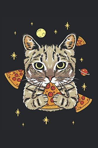 Gato de pizza en el espacio: Cuaderno forrado con divertidos regalos para mascotas gatos graciosos (formato A5, 15, 24 x 22, 86 cm, 120 páginas)