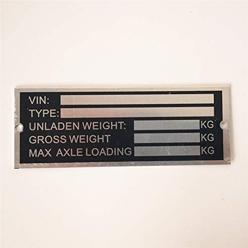 beyondcity Trailer Blank VIN & Weight Chassis Plate 120mm x 45mm Identification Number (120mm x 45mm)