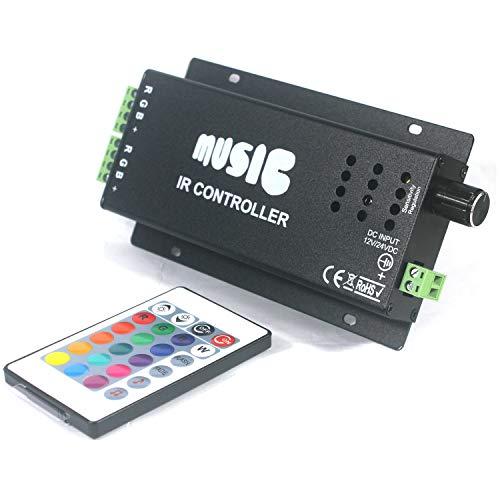 Taikuwu RGB Controller LED Musik Controller 12-24V 24 Keys IR Remote Fernbedienung Kontroller Steuerung für LED Streifen RGB LED Lichtband Farbwechsel Led Lichtleiste