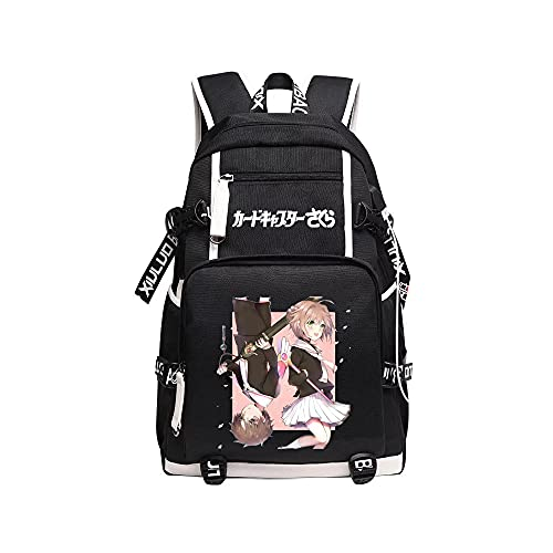 Kvghtt Cartable Anime Card Captor Sakura Sac À Dos pour Ordinateur Portable Backpack Sac De Voyage Bookbags pour Étudiants Garçons Filles Adolescent Noir