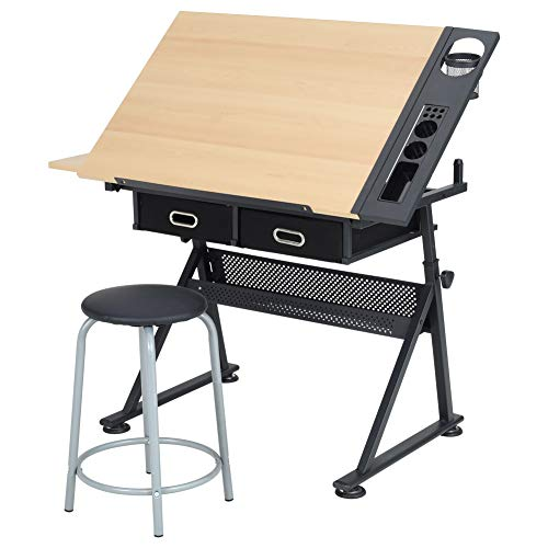 Warmiehomy Adjustable Drawing Table with Tiltable Tabletop Artist...