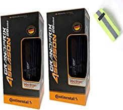 Bike A Mile Continental Grand Prix 4 Season Road Bike Tires Set of Folding Bicycle Tire with Reflective Safety Armband (Set of 2 Tires + Reflector, 700 x 32mm)