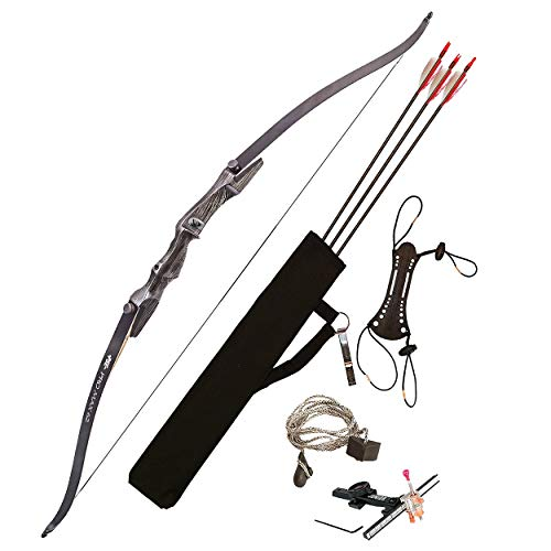 """PSE ARCHERY Pro Max Takedown 62"""" Recurve Bow Package Set For Adults, Youth & Beginners- Draw 25LB Pull- Adjustable Sight & More"""