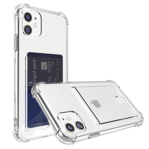 """ANHONG Upgrade iPhone 11 Clear Case with Card Holder, Protective Soft TPU Shock-Absorbing Bumper Wallet Case for iPhone 11 6.1"""""""