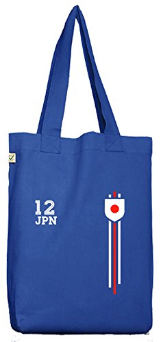 ShirtStreet Soccer World Cup Fussball WM Fanfest Gruppen Bio Baumwoll Jutebeutel Stoffbeutel Streifen Trikot Japan, Größe: onesize,Bright Blue
