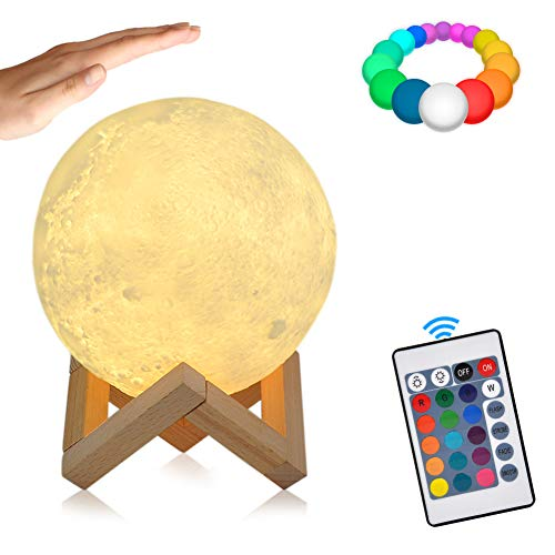 Full Moon Lamp,16 Colors 3D Moon Light with Remote Control,LED RGB Night Light,Touch Lamps Dimmable,USB Charging for Decoration & Christmas Gifts(15cm)