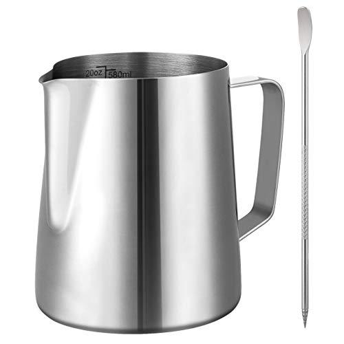 GWHOLE 580 ml Jarra para Leche de Acero Inoxidable con Latte Art Aguja Tools Taza Espumadores para Leche Café Jarra para Espuma de Leche