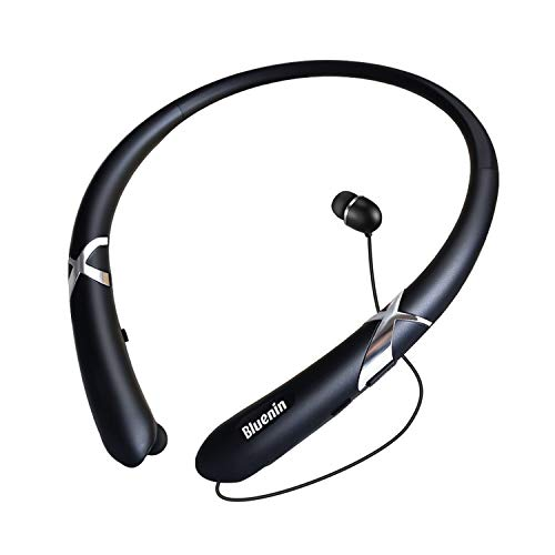 Bluetooth Headphones with Retractable Earbuds, Bluenin Bluetooth 5.0 Neckband Headset, Noise Canceling Stereo Sports Earphones with Call Vibrate, 14H Playtime, Carrying Case (Black)