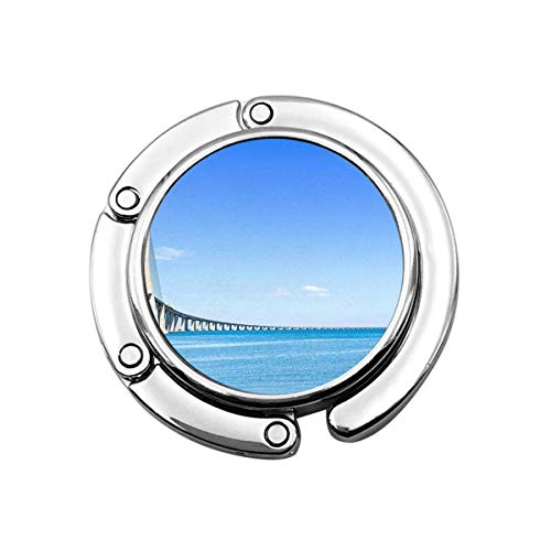 Cute Foldable Purse Hanger Hook for Table,Vasco Da Gama Bridge Tagus River Blue Sky Scenic Beauty Handbag Hook Table Bag