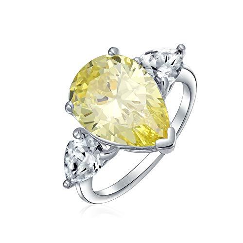 Boda nupcial 7CT Cubic Zirconia 925 plata esterlina plata canary amarillo solitario lágrima brillante corte brillante trillón de piedras laterales AAA CZ pera forma declaración anillo de compromiso