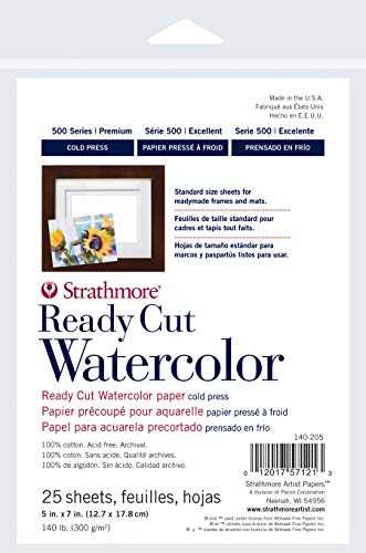 Strathmore 140-205 Ready Cut Watercolor, Cold Press, 5' x 7', White, 25 Sheets,Multicolor