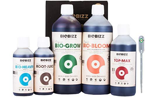 Weedness Ensemble d'engrais BioBizz 5 pièces pour l'intérieur - Pack d'engrais Naturel Engrais Organique pour cultiver l'engrais BioBizz Starters Pack Orchids Blue Grain