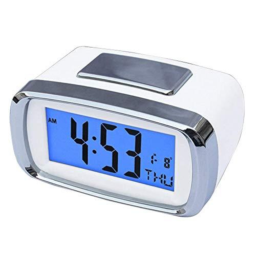 Retroiluminación cabeceras Snooze Función del calendario del reloj con pilas del reloj de escritorio for el recorrido del hogar LED digital despertador de alarma ajustable Reloj, Mesilla de noche, esc