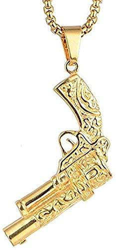 huangshuhua Collar Collar de Acero Inoxidable Collares de Hombre Colgantes de Cadena Pistola Vintage Punk Rock Hip Hop Oro Plata para Hombre Niño Regalo de joyería