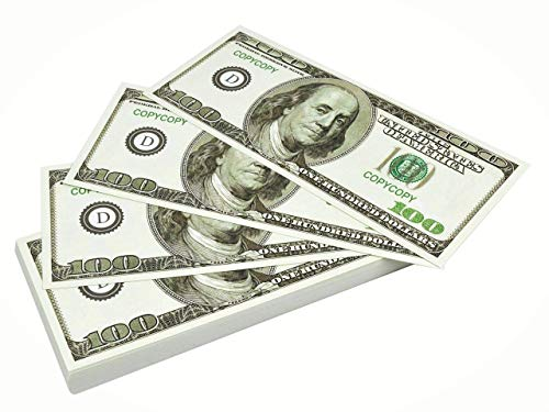 DR DINGUS Premium Prop Money -100 Pack of $100 Dollar Bills Realistic – Genuine Fake Money – Premium Double-Sided Printing Play Money That Looks Real – Ideal for Movies, Theater, Plays, Educational