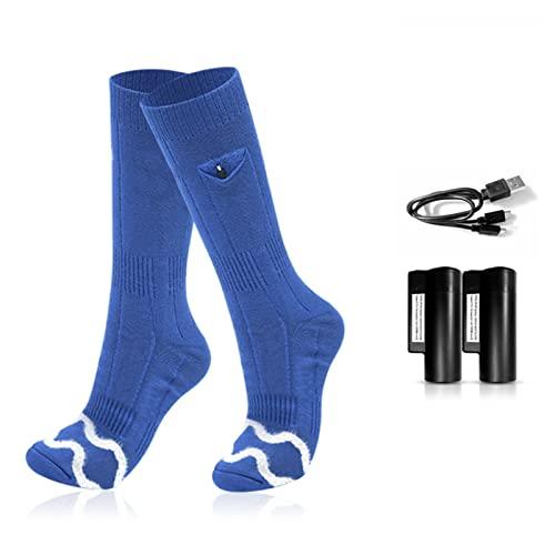 HYTGF Calcetines Calefactables para Hombres Mujeres, Calcetines Eléctricos batería Recargable Calcetines con 3 ajustes de Calor para Esquiar/Motocicleta Ciclismo/Acampar,Azul,L