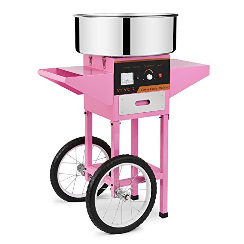 Autovictoria Máquina de Algodón de Azúcar Acero Inoxidable Máquina Eléctrica para hacer Algodón de Azúcar Cotton Candy Machine Commercial (con Carrito)