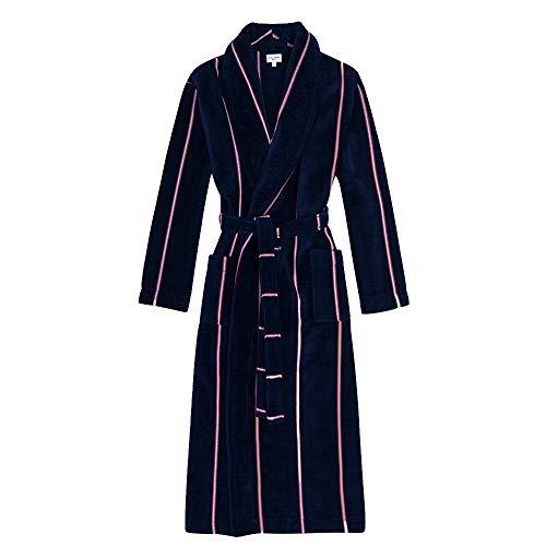 FHISD Pijamas para Mujer, Pijamas, Conjuntos de salón Suaves, Ropa de Dormir Completa de Lana, Bata de Noche, Albornoz, Toalla de algodón a Rayas para Parejas