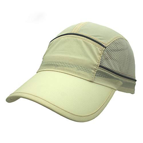 CapsA Baseball Cap Hat Reflective Running Cap for Women Men Quick Dry Mesh Hat Summer Autumn Outdoor Sport Baseball Hat Running Visor Sun Cap for Sports Camping Traveling (Khaki)