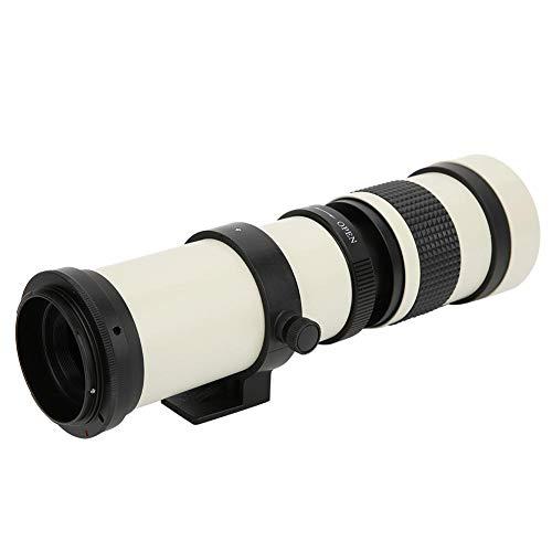 Lente telescópica, blanca con zoom teleobjetivo súper 420 800MM F/8.3 16 Lente teleobjetivo de enfoque manual para cámara con montura EF Canon Cuerpo de aluminio, lente zoom teleobjetivo