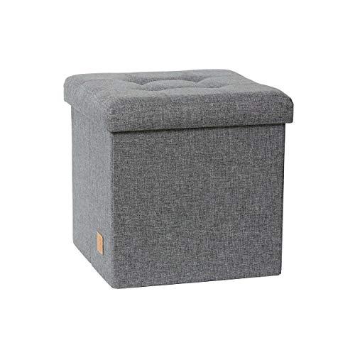 LOVE !T STORE !T – PREMIUM Sitzhocker mit Stauraum – gepolsterter Sitzwürfel mit Stauraum – Aufbewahrungsbox / Hocker – 38x38x38 – extra stabil, MDF verstärkt – grau