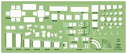 Linex 100414273 Architect-werkplansjabloon met inktnoppen, transparant/groen