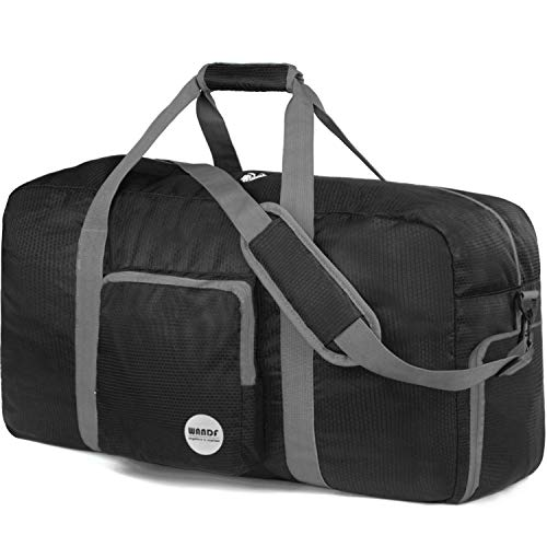 WANDF Faltbare Reisetasche 60-100L Superleichte Reisetasche für Gepäck Sport Fitness Wasserdichtes Nylon von WANDF (schwarz, 80L)