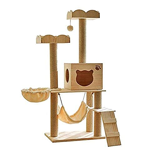 YAMMY Árbol y Torre Estable para Gatos, Centro de Actividades para Gatitos, armazón para trepar de Madera de Varias Capas para Gatos, Bola y Hamaca para Colgar, (árbol para Gatos)