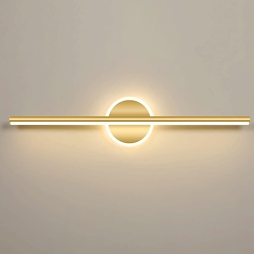 Lámparas Delanteras De Espejo LED, Luz De Tocador De Baño Moderna, Luces De Espejo De Maquillaje Para Baño, Aplique De Pared De Baño De Metal Dorado, Luz Blanca Cálida 3000K [Clase Energética A +]