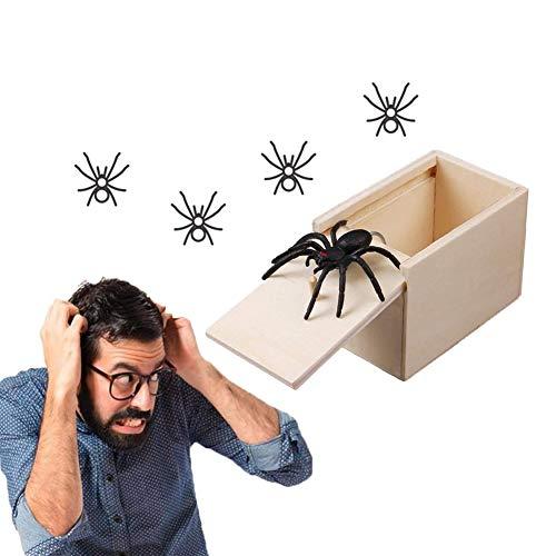 SIMUER Broma Araña Asustar Caja, 2 Unids Broma De Madera Araña Asustar Caja Broma Juguetes de Madera de Sorpresa