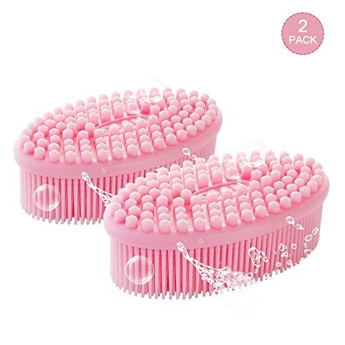 Haarmassage-apparaat voor hoofdhuid, shampooborstel en lichaamswas,[nat/droog] massage shampoo kwast zachte siliconen kam voor mannen, vrouwen en huisdieren