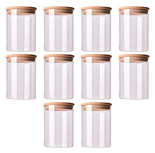 Frascos de vidrio de 150 ml con tapas de bambú Juego de 10 anillos de silicona Recipientes herméticos de cereales para alimentos para almacenamiento, Juego de latas de mermelada para pasta, espaguetis