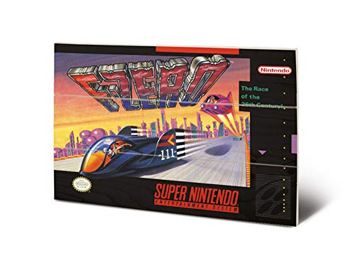 Nintendo MW12478P Impression sur Bois 29,5 x 20 cm-Super (F-Zero), Multicolore, 20 x 29, 5 x 1, 2 cm
