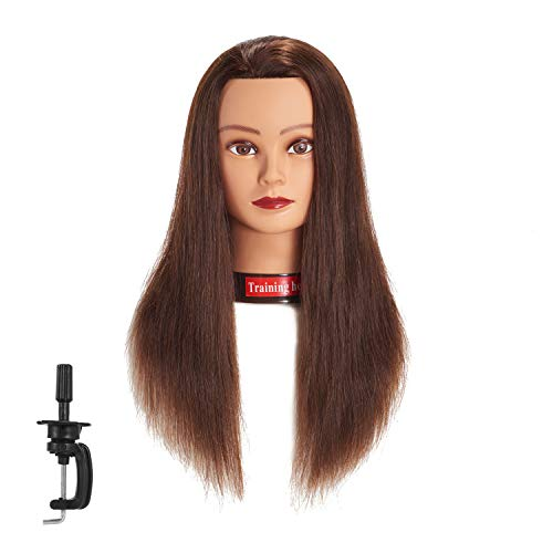 "Traininghead 20-22"" Female 100% Human Hair Mannequin Head Hair Styling Training Head Cosmetology Manikin Head Doll Head for Hairdresser with Free Clamp (brown)(14-16'' )"