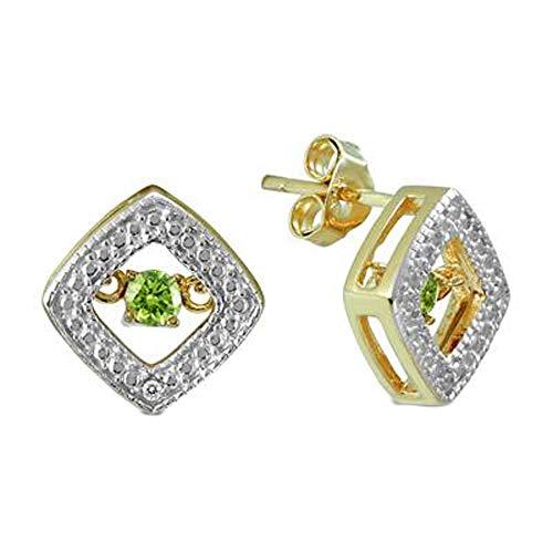 SLV Pendientes de tuerca cuadrados de diamante de corte redondo de 0,17 quilates en plata chapada en oro amarillo de 14 quilates