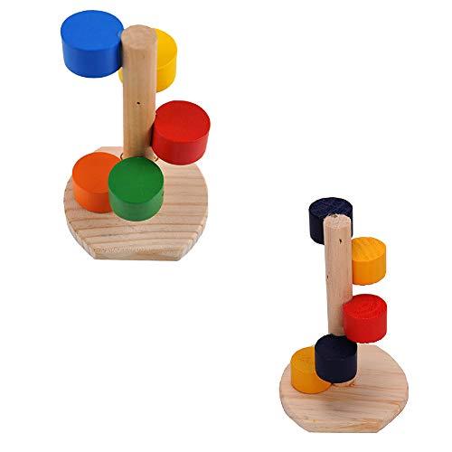SHULI Hamster Speelgoed Natuurlijke Houten Kleine Huisdier Hamster Kooi Accessoires Kleurrijke Ladder 2-delige Set