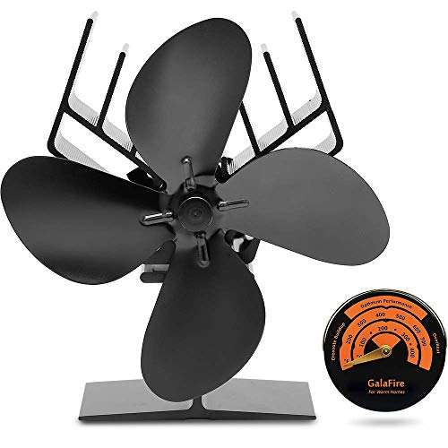 [2 Jahre Garantie] Kostenloses Geschenk Kaminzubehör Thermometer + Kamin Ventilator Ohne Strom Ventilator für Holzöfen Ofen Ventilator für Optimale Verteilung der Luft