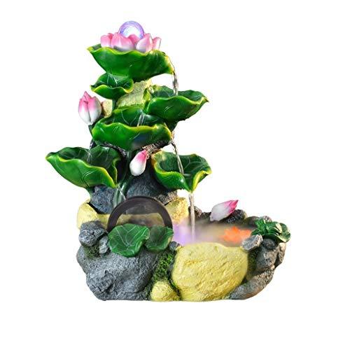 Fuente de agua de escritorio de loto Feng Shui, cascada, paisaje, rocoso, fuente de agua, estanque de peces, sala de estar, decoración de peceras (tamaño grande: grande)