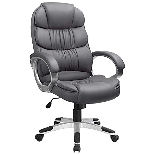 Furmax High Back Office Adjustable Ergonomic Desk Padded Armrests Executive PU Leather Swivel Task Chair with Lumbar Support, Grey