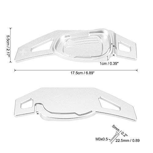 X AUTOHAUX Pair Silver Tone Car Steering Wheel Shift Paddle Cover Shifter Extension for A5 S3 S6 SQ5 RS6 RS7