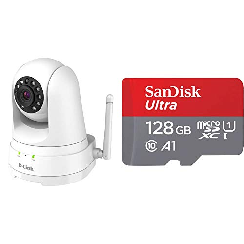 D-Link DCS-8525LH Cámara de vigilancia/Seguridad WiFi con Acceso Desde móviles grabación en la Nube y en el móvil, FullHD 1080p, MicroSD + SanDisk SDSQUA4-128G-GN6MA Clase 10, U1, 128 GB, Rojo/Gris