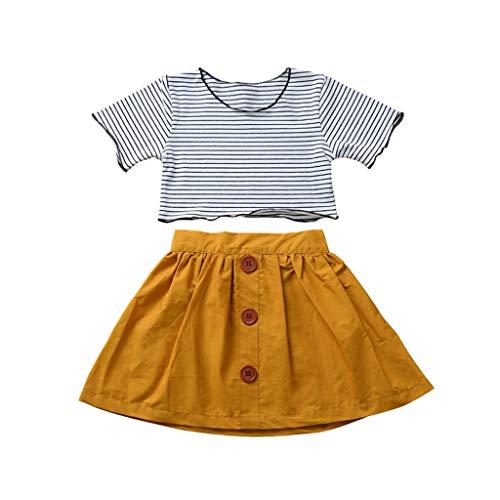Kleinkind Kinder Baby Mädchen Outfits Set Stripe Einfarbig T-Shirts Tops Einfarbig Röcke Sommer Kleidung Set, Gelb, 2-3 Jahre