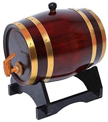 JLDN Barril de Vino, Barril de Madera de Roble Envejecimiento Barril con Grifo con Filtro Vino Haciendo Kit Revestimiento de Papel de Aluminio para Vino, licores, Cerveza y el Licor,A_5L