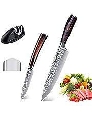 AUSELECT Santoku Knife Set Handmade Forged Chef Knife Set 2-Pack