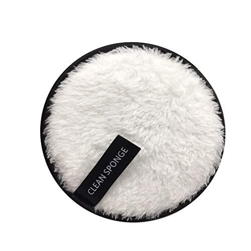 Coton Demaquillant Lavable, Bouffée Propre Tampons Démaquillants Tampons En Coton Biologique Réutilisables, Nettoyage du Visage, Tampons Éponge en Coton Double (Blanc)
