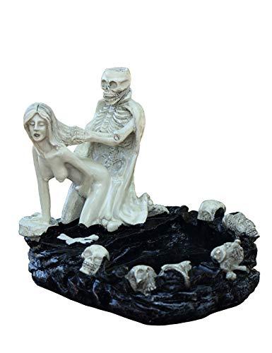 Gotische Tod & Liebe Skelett Schönheit Figur Zigarette Aschenbecher aus Kunstharz, 12,5 x 11,5 x 12cm, Alt-weiß, Schädel Totenkopf Statue Haus Garten Dekor A