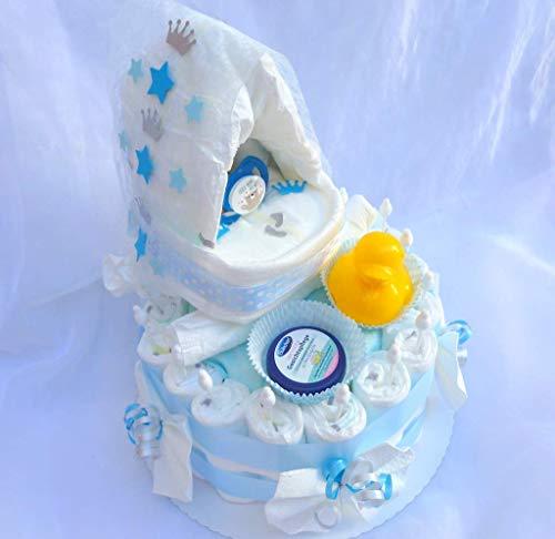 Windeltorte Geschenk, Junge Boy Windelwiege Babyparty, Geburt oder Taufe, auf Wunsch mit Grußkärtchen